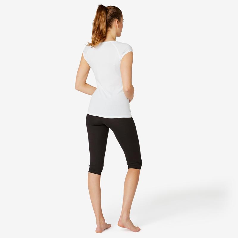 Women's Slim Cropped Bottoms Fit+ 500 - Black