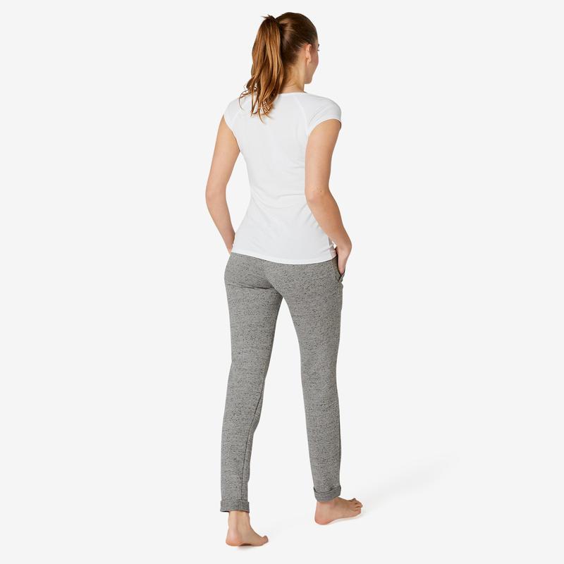 Pantalon jogging femme 500 slim gris