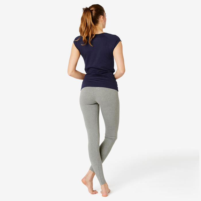 Sportbroek voor pilates en lichte gym dames Fit+500 regular fit grijs