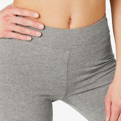 Legging sport taille haute en coton femme Fit+ 500 gris chiné