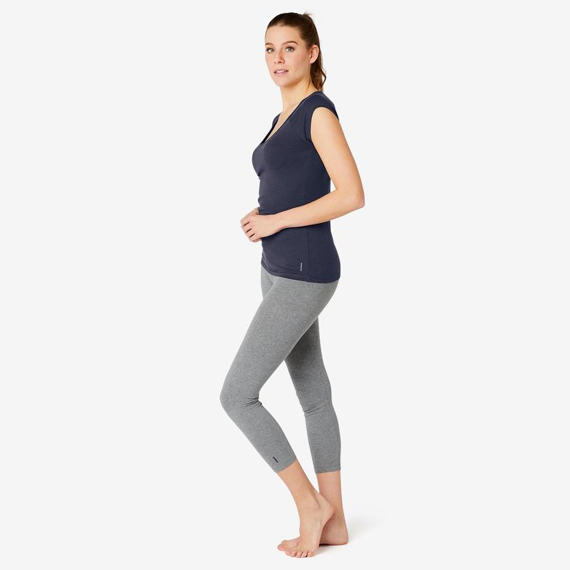 T-shirt Sport Pilates Gym douce Femme 500 Slim Bleu Marine