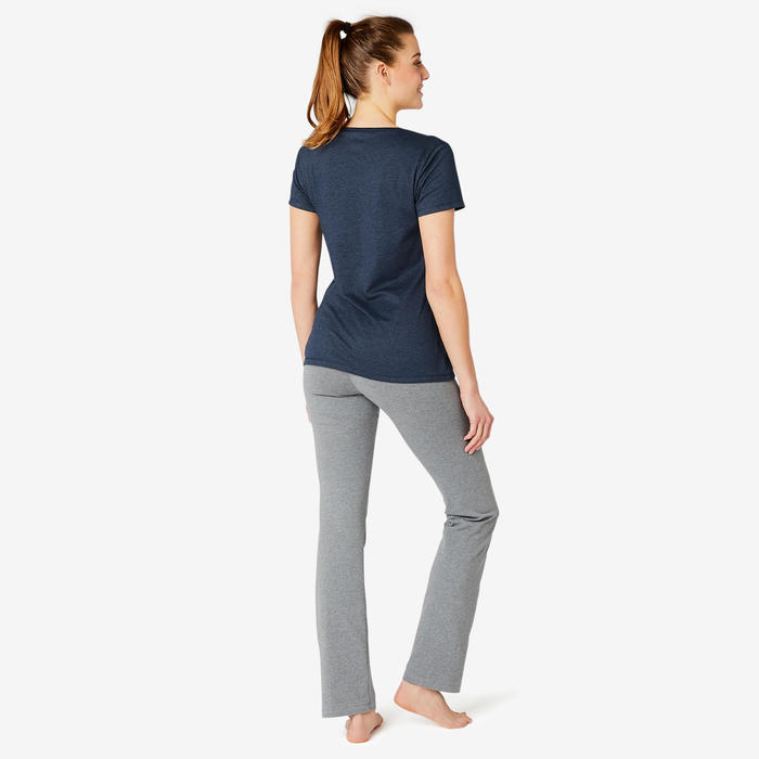 T-shirt Sport Pilates Gym Douce Femme 500 Regular Bleu