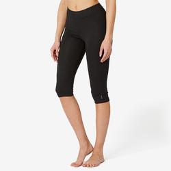 女款修身剪裁皮拉提斯與溫和健身運動七分褲Fit+500 - 黑色