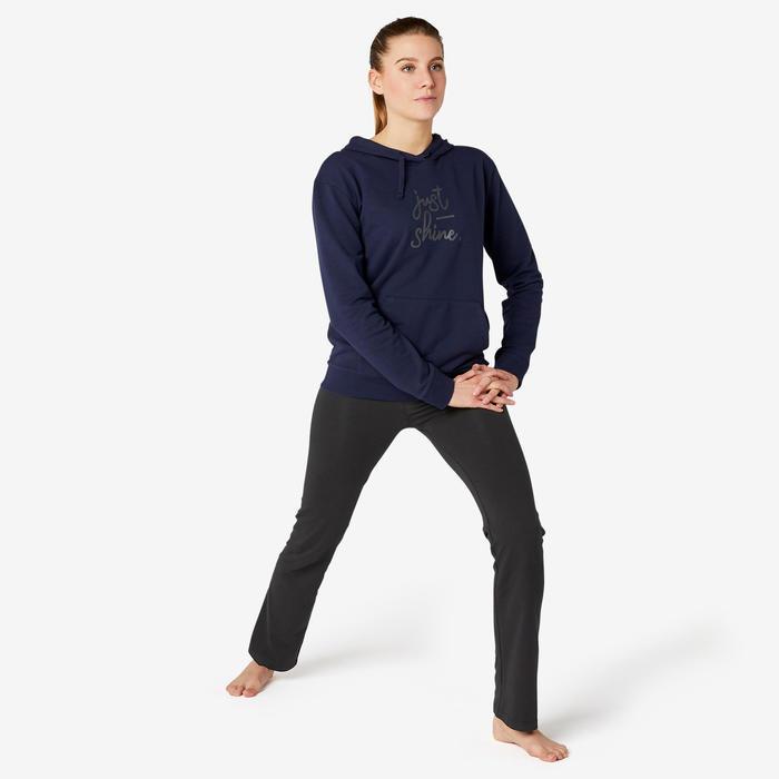 女款標準剪裁運動緊身褲Fit+ 500 - 黑色
