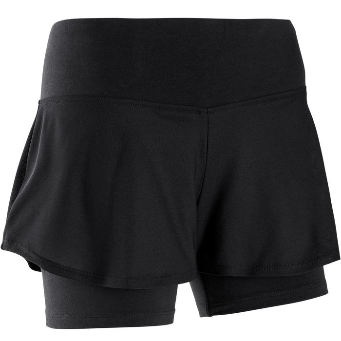 Women's 2-in-1 Pilates & Gentle Gym Sport Shorts 520 - Black