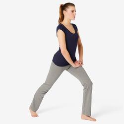 Sportbroek voor pilates en lichte gym dames Fit+500 regular fit grijs