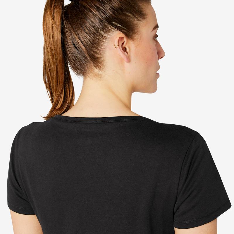 T-Shirt Coton Extensible Fitness Noir