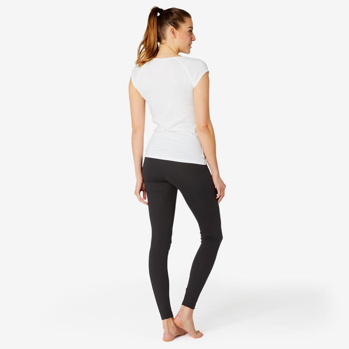 Sportbroek voor pilates en lichte gym dames Fit+500 slim fit zwart
