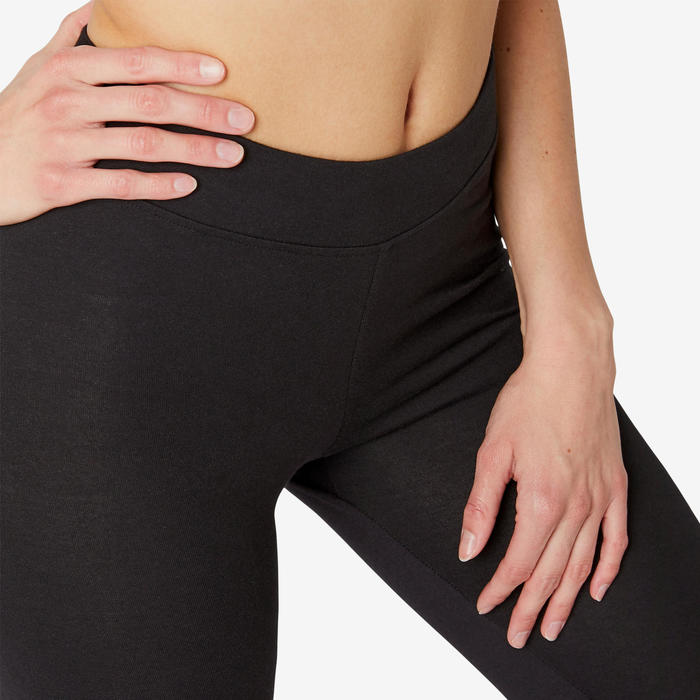 Women's Slim Cropped Bottoms Fit+ 500 - Black
