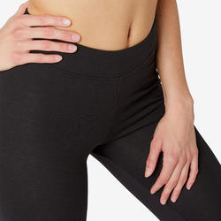 Women's Slim-Fit Pilates & Gentle Gym Sport Cropped Bottoms Fit+500 - Black