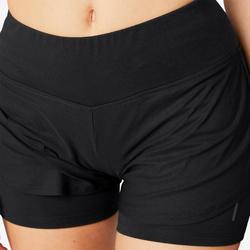 Short voor pilates en lichte gym dames 520 2-in-1 zwart