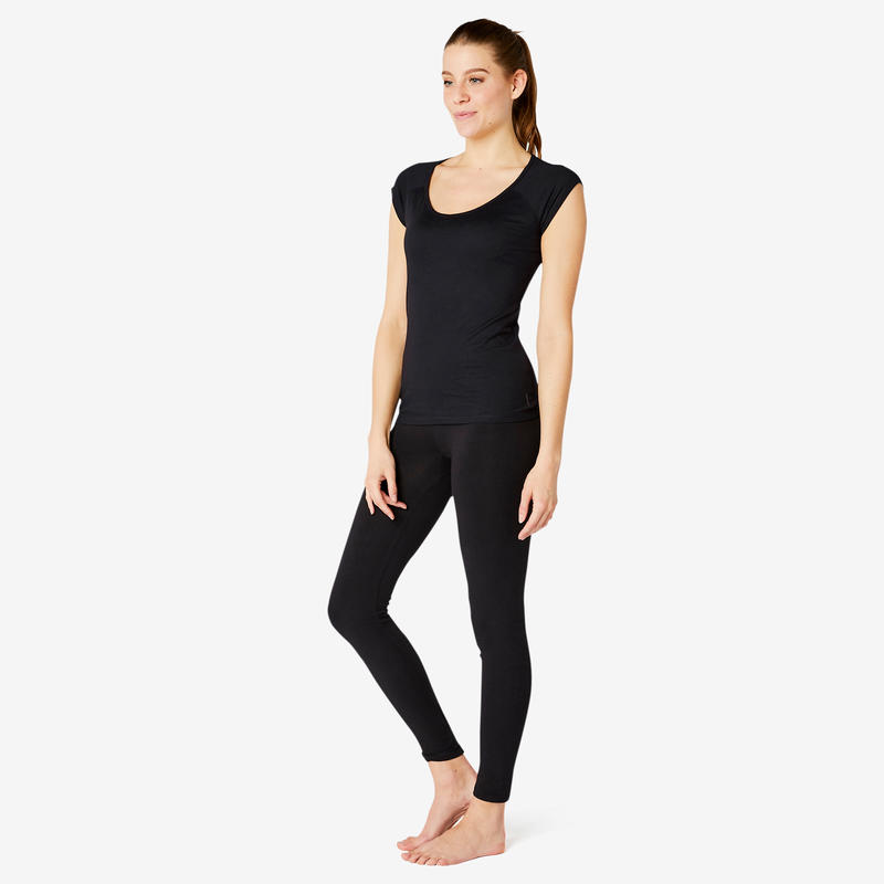 Women's Slim-Fit Pilates & Gentle Gym Sport T-Shirt 500 - Black