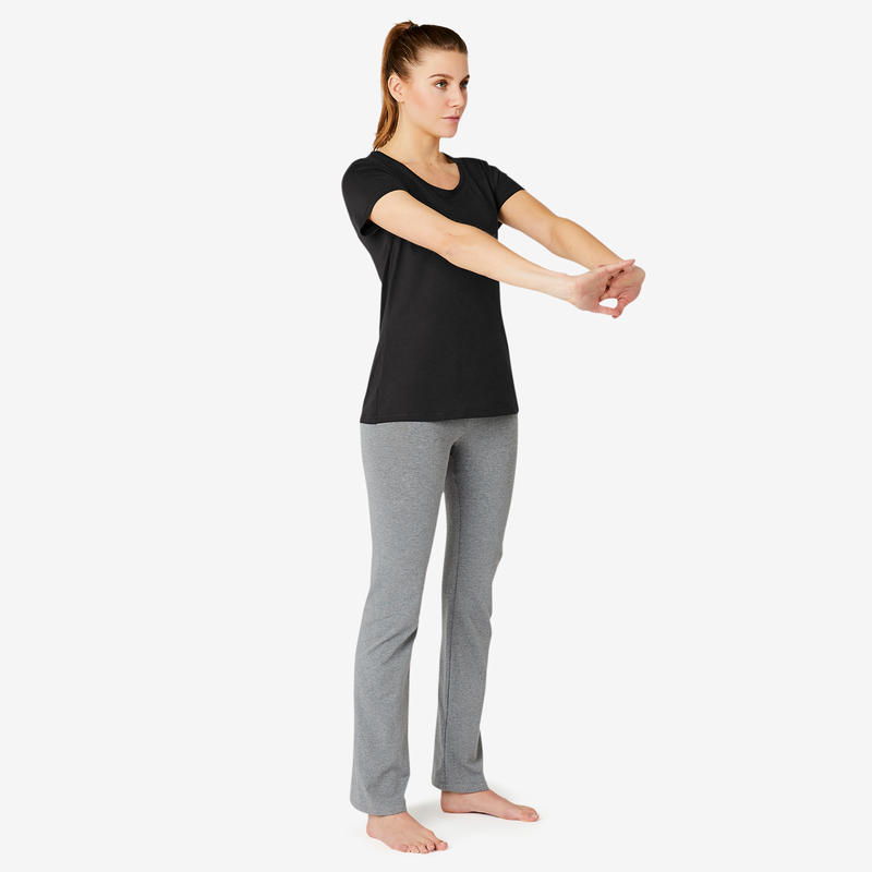 Women's Regular-Fit Pilates & Gentle Gym Sport T-Shirt 500 - Black