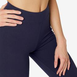 Sportbroek voor pilates en lichte gym dames Fit+500 regular fit marineblauw