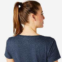 T-shirt fitness manches courtes slim coton extensible col rond femme bleu