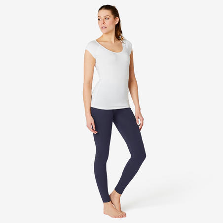 Women's Slim-Fit Pilates & Gentle Gym Sports Bottoms Fit+ 500 - Navy Blue