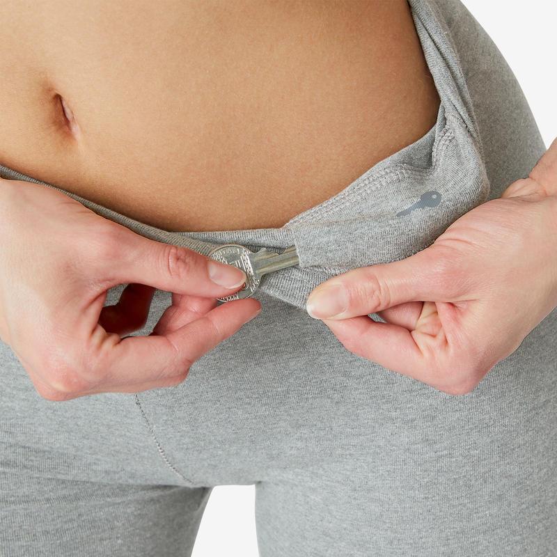 Women's Slim-Fit Leggings Fit+ 500 - Grey