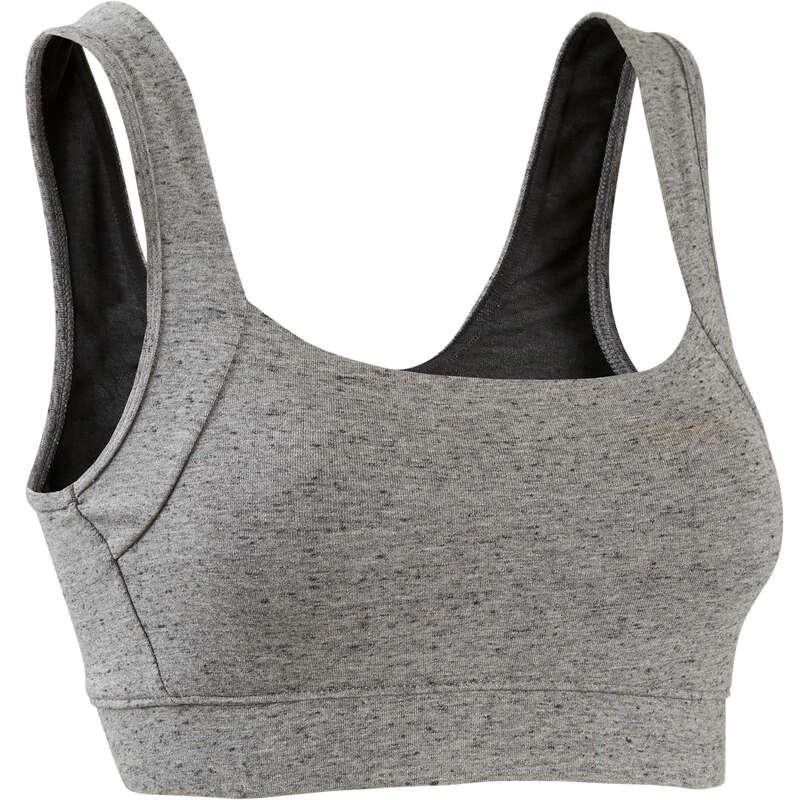 T-SHIRT, LEGGINGS, SHORT DONNA Ginnastica, Pilates - Top donna ginnastica grigio DOMYOS - Abbigliamento donna