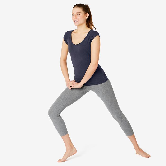 T-Shirt 500 Slim Sport Pilates sanfte Gym Damen marineblau
