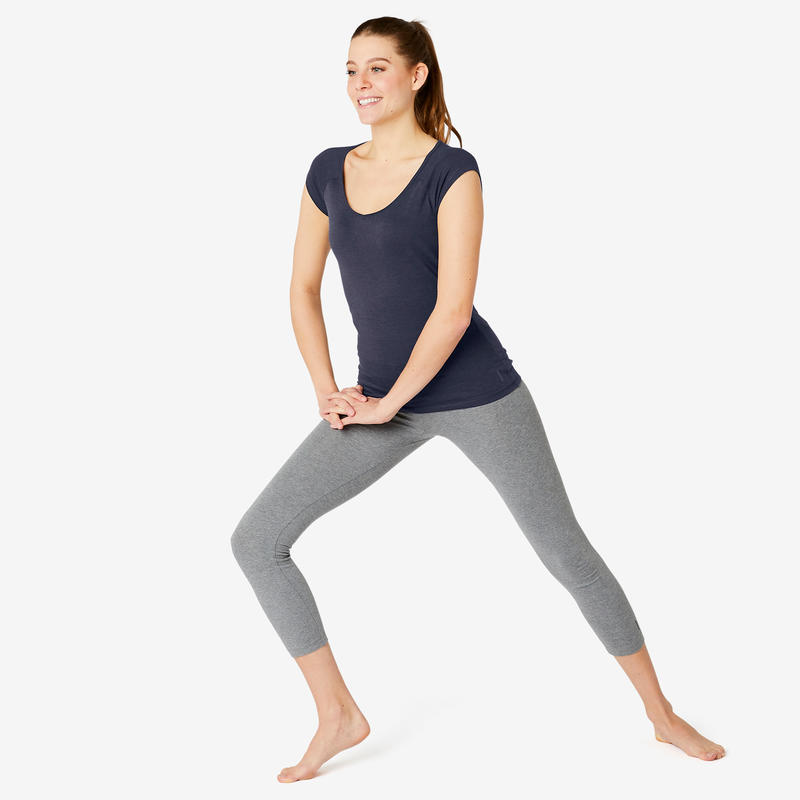 Women's Slim-Fit Pilates & Gentle Gym Sport T-Shirt 500 - Navy