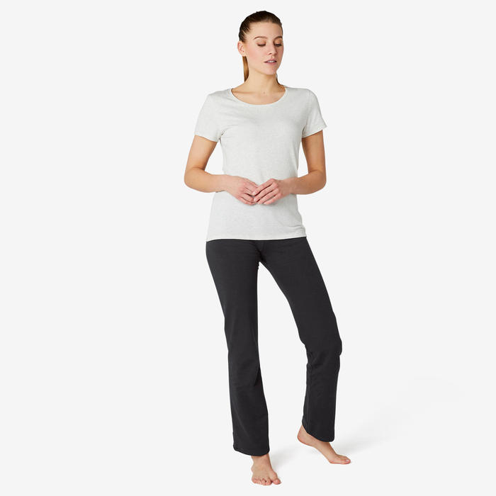 Women's Regular-Fit Pilates & Gentle Gym Sport Leggings Comfort+ 500 - Black