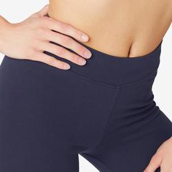 Sportbroek voor pilates en lichte gym dames Fit+500 slim fit marineblauw