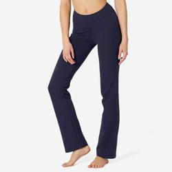 Legging voor fitness Fit+ katoen recht model marineblauw