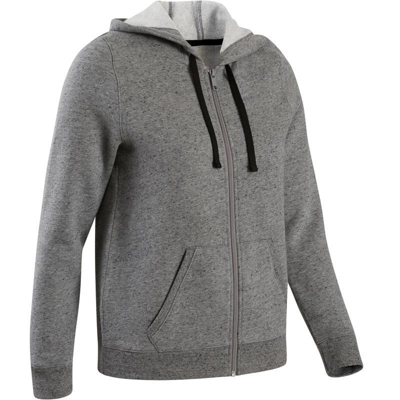 Women's Hooded Training Jacket 500 - Grey