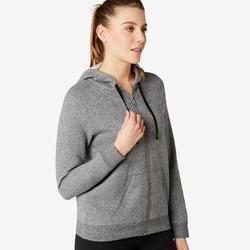 Sweat Zippé capuche chaud Fitness Gris