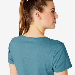 T-shirt Sport Pilates Gym Douce Femme 500 Regular Turquoise