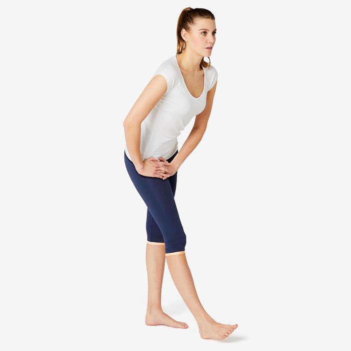 Dameskuitbroek voor pilates en lichte gym Fit+ 500 marineblauw slim fit