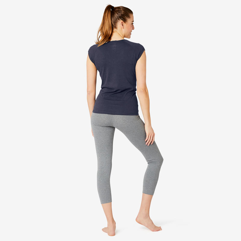 Women's Slim-Fit Pilates & Gentle Gym Sport T-Shirt 500 - Navy