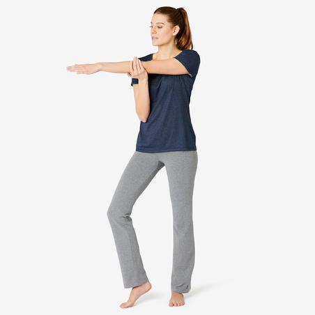 Playera Sport Pilates y Gimnasia suave mujer 500 Regular azul