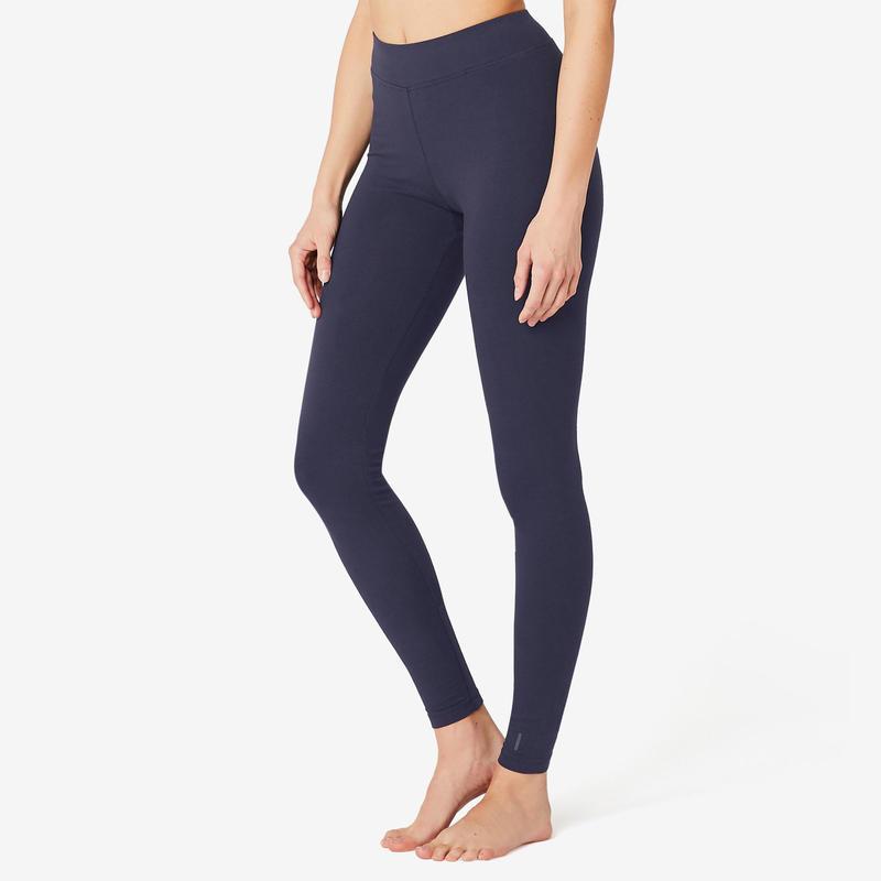 Legging voor fitness Fit+ katoen marineblauw
