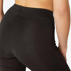 Women's Regular-Fit Pilates & Gentle Gym Sport Bottoms Fit+500 - Black
