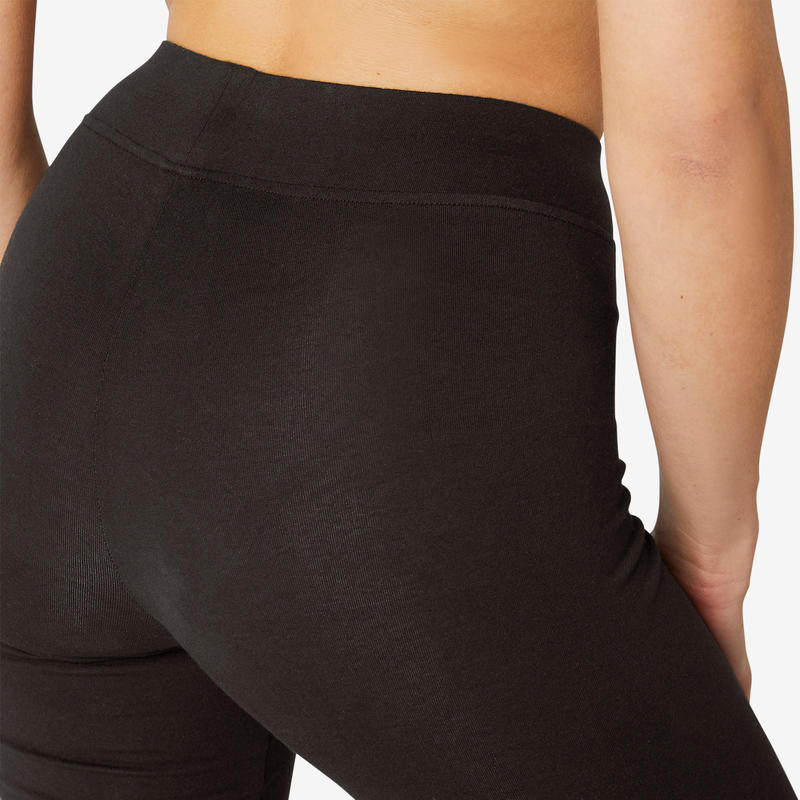 Women's Regular-Fit Sport Leggings Fit+ 500 - Black
