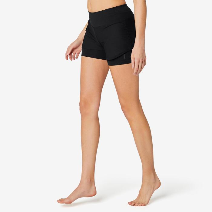 2-in-1-Shorts kurz 520 Gym & Pilates Damen schwarz