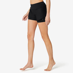 Stretch short voor fitness katoen 2-in-1 zwart
