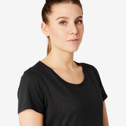 T-shirt voor pilates en lichte gym dames 500 regular fit zwart