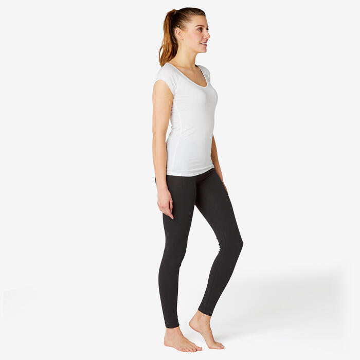Women's Slim-Fit Pilates & Gentle Gym Sport Bottoms Fit+ 500 - Black