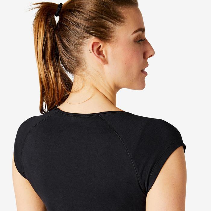 T-Shirt 500 Slim Sport Pilates sanfte Gym Damen schwarz