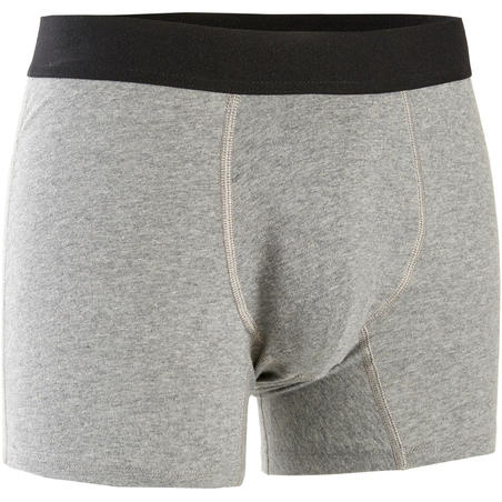 Fitness Stretch Cotton Boxer Shorts - Mottled Grey