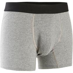 Boxershort voor pilates en lichte gym heren 500 rekbaar katoen gemêleerd grijs