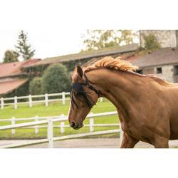Frontal anti-mouche de pré équitation cheval noir