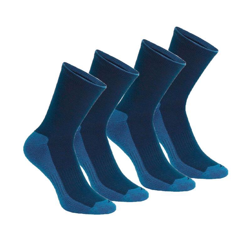 Set 2 perechi Şosete lungi NH100 Drumeţie în natură Albastru