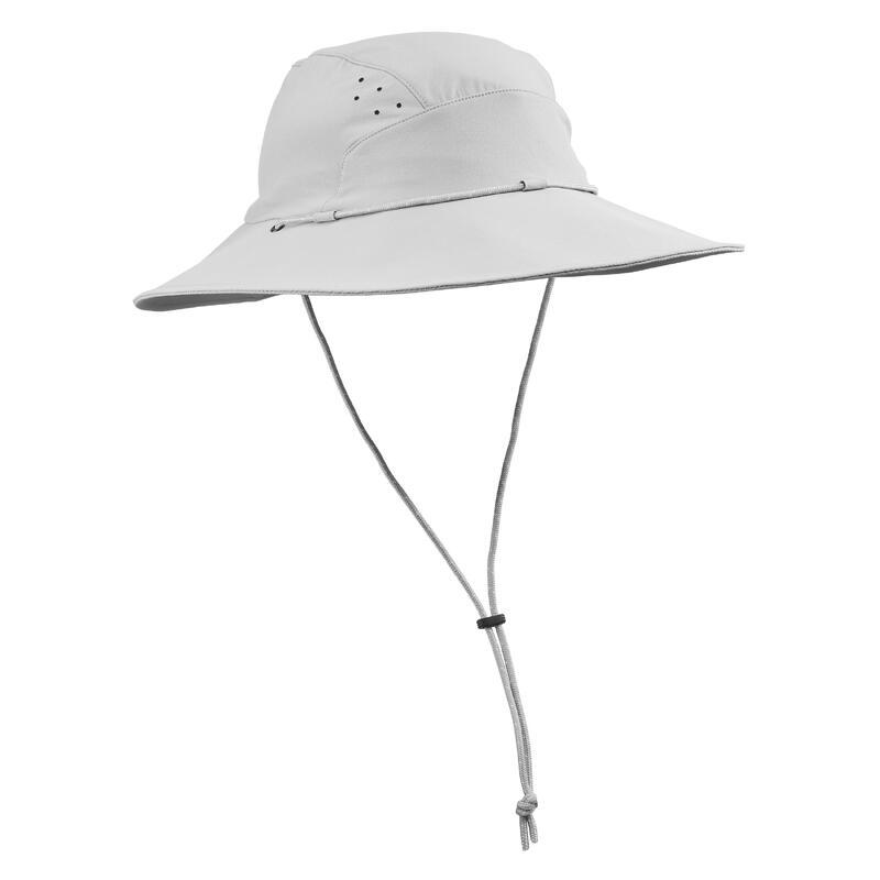 Uv-werende dameshoed voor bergtrekking Trek 500 lichtgrijs