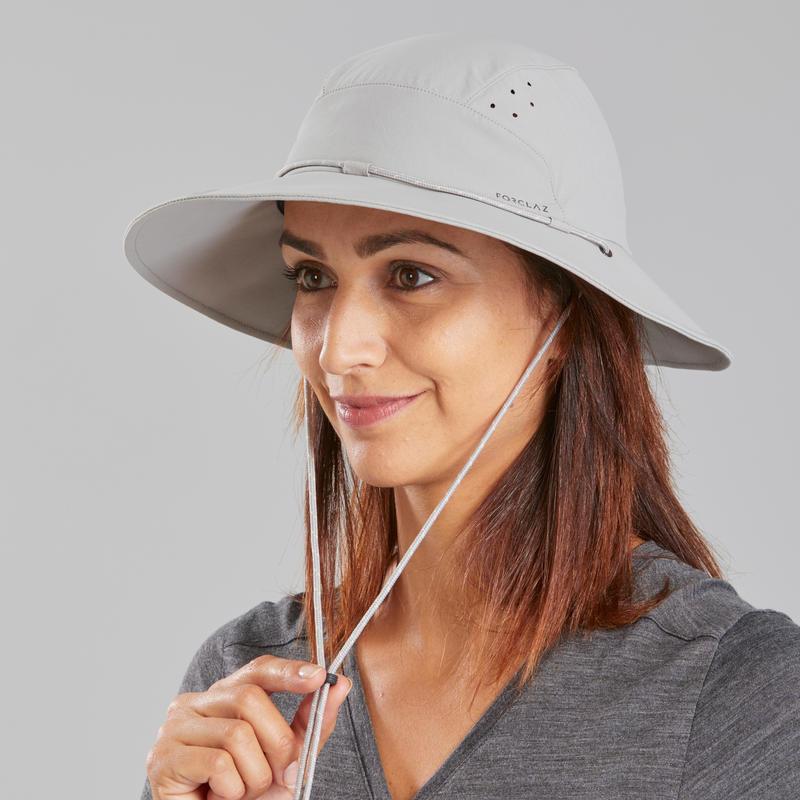 Women's Anti-UV Mountain Trekking Hat |TREK 500 Light Grey