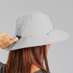 Chapeau de Trekking montagne anti-UV |TREK 500 gris clair Femme
