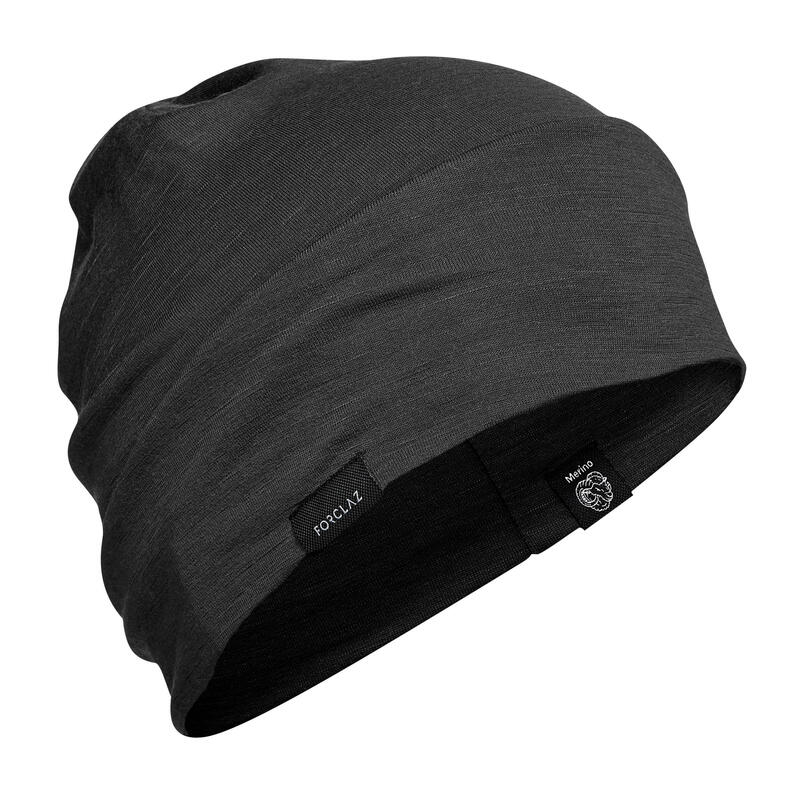 Mountain Trekking Merino Wool Hat Trek 500 - Black