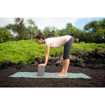 Yogamat voor zachte yoga Comfort 8 mm groen met bladerprint